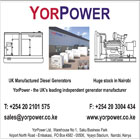 YorPower Kenya was established in 2002. From our headquarters in Nairobi we sell Diesel Generators manufactured by our parent company,